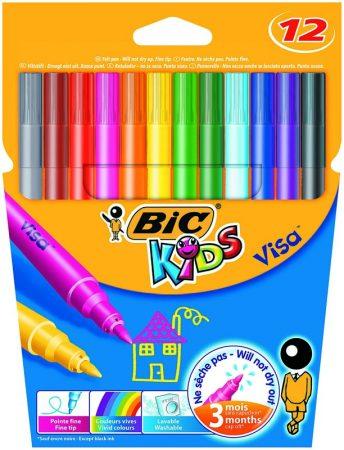 Estuche de 12 rotuladores Bic Kids Visa Lavable punta fina