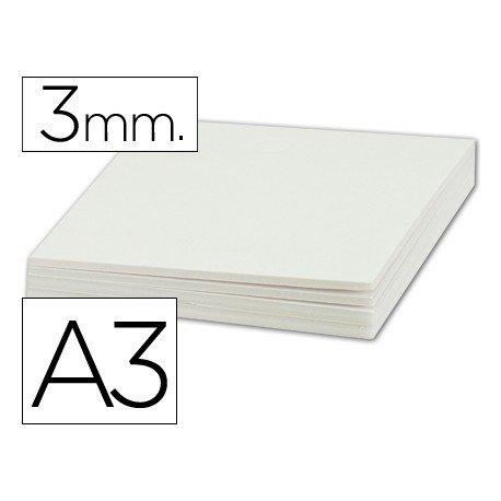 Plancha de cartón pluma blanco A3 con grosor de 3 mm