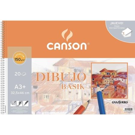 BLOCK DIBUJO CANSON BASIK A3+ 20H 150G SIN RECUAD