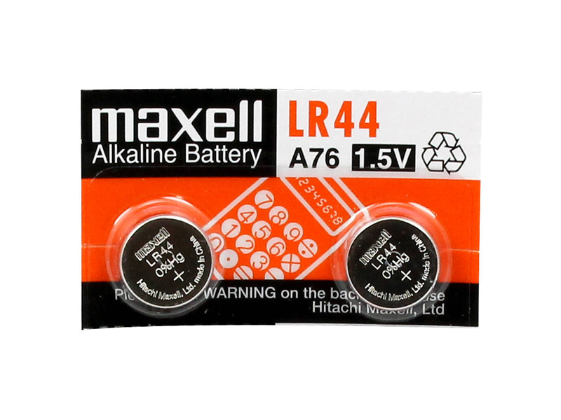 Blíster de 2 pilas de botón LR44 de 1,5V Maxell