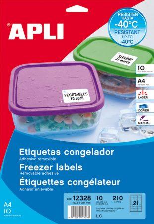 Bolsa de 10 hojas de etiquetas para congelador Apli 63,5 x 38,1 mm