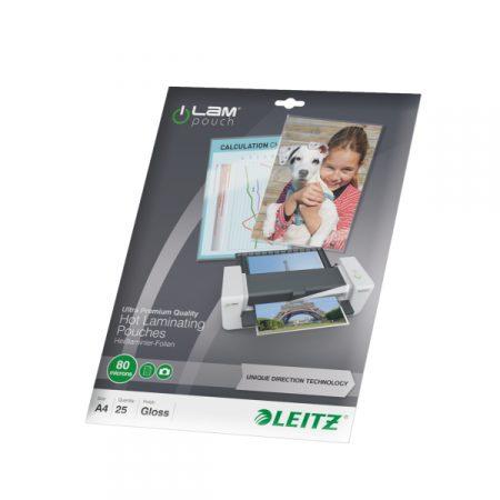 Paquete de 25 fundas de plastificar prémium A4 de 80 μ Leitz iLAM