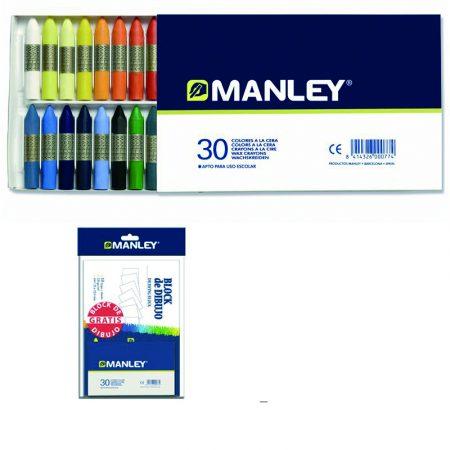 Kit de block de 10 hojas de dibujo sin recuadro A4 encolado de 120 grs/m² y 30 ceras Manley