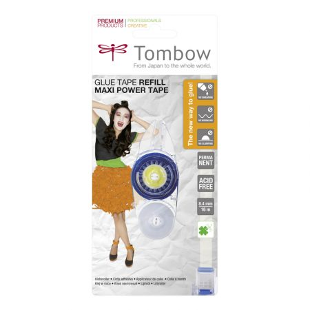 Blíster de 1 recambio de pegamento permanente roller para Tombow Maxi Power 16 m.
