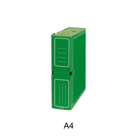 Caja de transferencia de cartón forrado en Geltex verde A4 con ollao y lomo de 110 mm Mariola