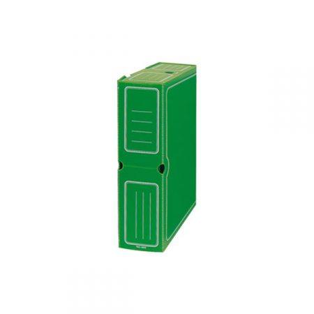 Caja de transferencia de cartón forrado en Geltex verde Fº con ollao y lomo de 110 mm Mariola