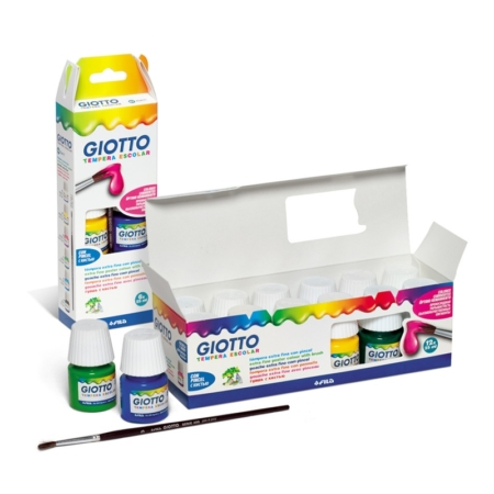 CAJA DE 6 BOTES DE TÉMPERA 25 ML CON PINCEL GIOTTO