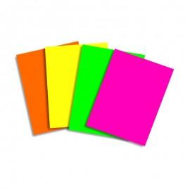 Paquete de 250 hojas de papel A4 surtido 4 colores fluorescentes