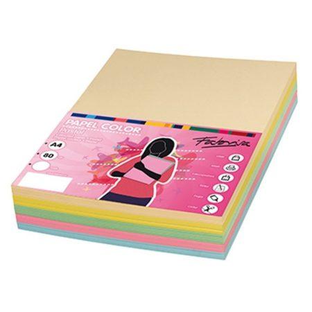 Paquete de 250 hojas de papel A4 surtido 5 Colores Suaves