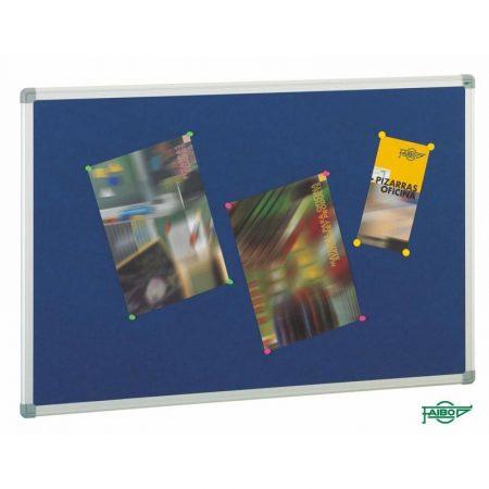 Tablero de corcho tapizado en azul con marco de aluminio de 60 x 90 cm Faibo