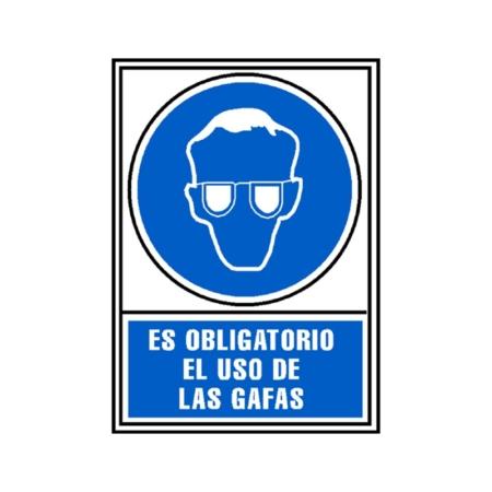 SEÑAL PVC AZUL 210x297 OBLIGATORIO USO DE GAFAS