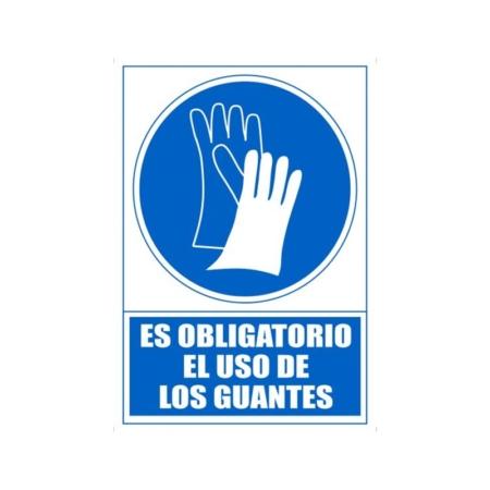 SEÑAL PVC AZUL 210x297 OBLIGATORIO USO DE GUANTES