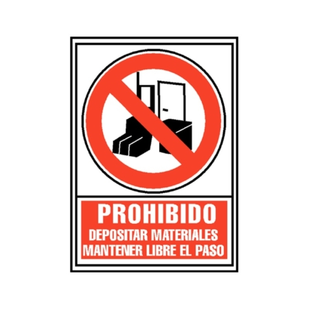 SEÑAL PVC ROJO 210x297 PROHIBIDO DEPOSITAR MATERIALES