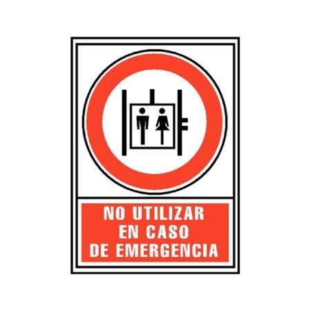 SEÑAL PVC ROJO 210x297 NO UTILIZAR EN CASO DE EMERGENCIA