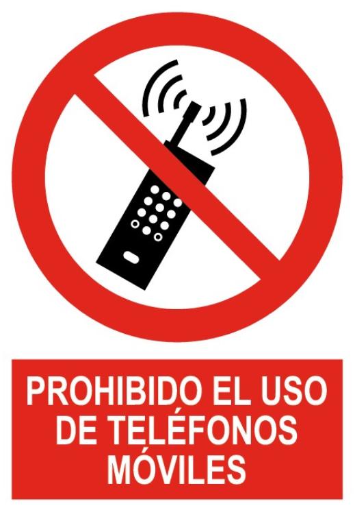 SEÑAL PVC ROJO 210x297 PROHIBIDO USAR TELÉFONOS MÓVILES