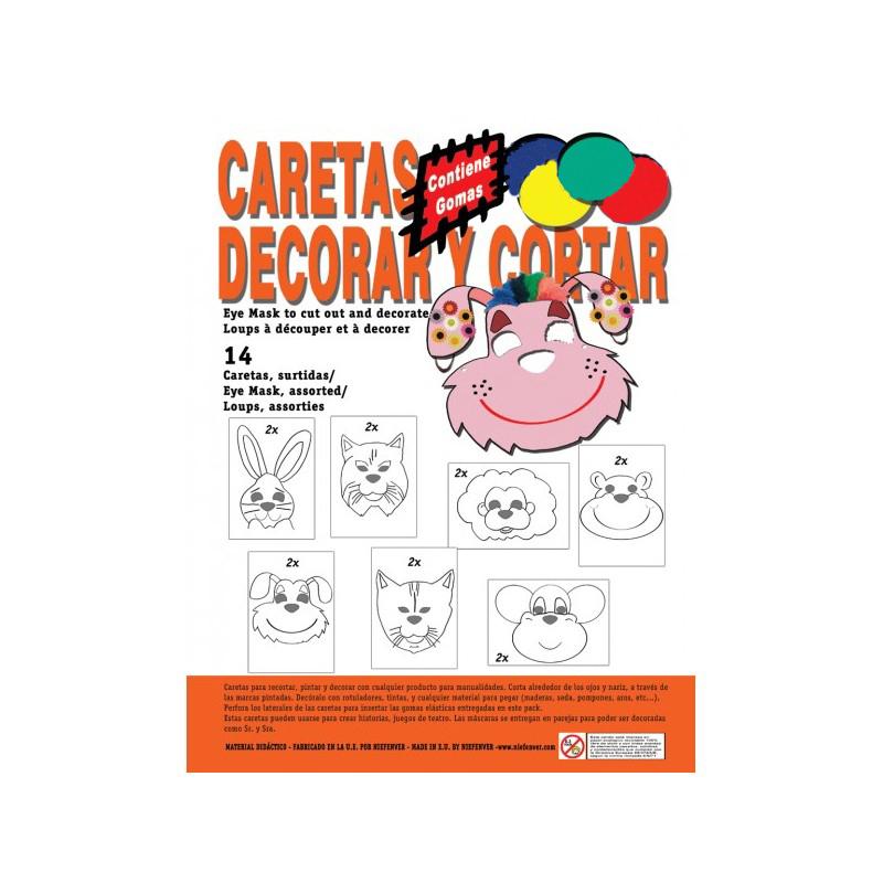 BOLSA DE 14 CARETAS PARA DECORAR Y PINTAR 29,7X21 CM.