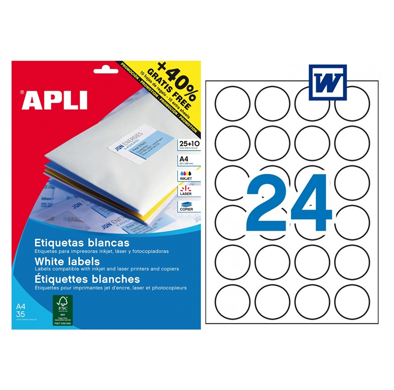 Bolsa de 25 hojas de etiquetas adhesivas blancas circulares Apli ø 40 mm
