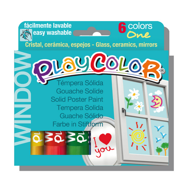 ESTUCHE 6 TEMPERA SOLIDA PLAYCOLOR ONE WINDOW PARA CRISTAL