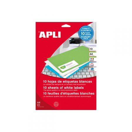 Bolsa de 10 hojas de etiquetas adhesivas blancas con cantos rectos Apli 210 x 297 mm