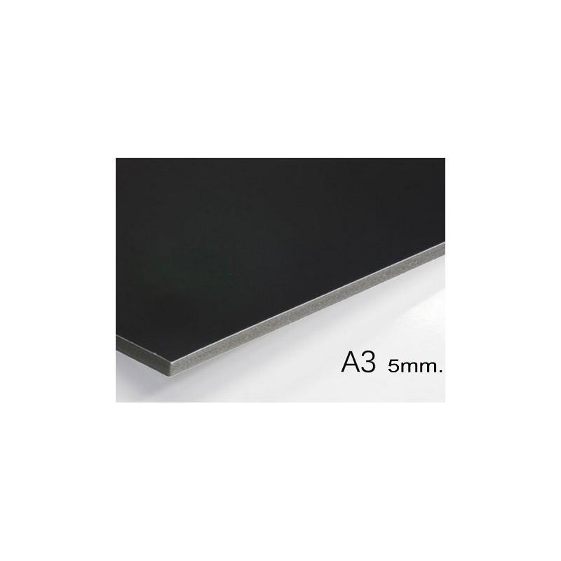 Plancha de cartón pluma negro A3 con grosor de 5 mm