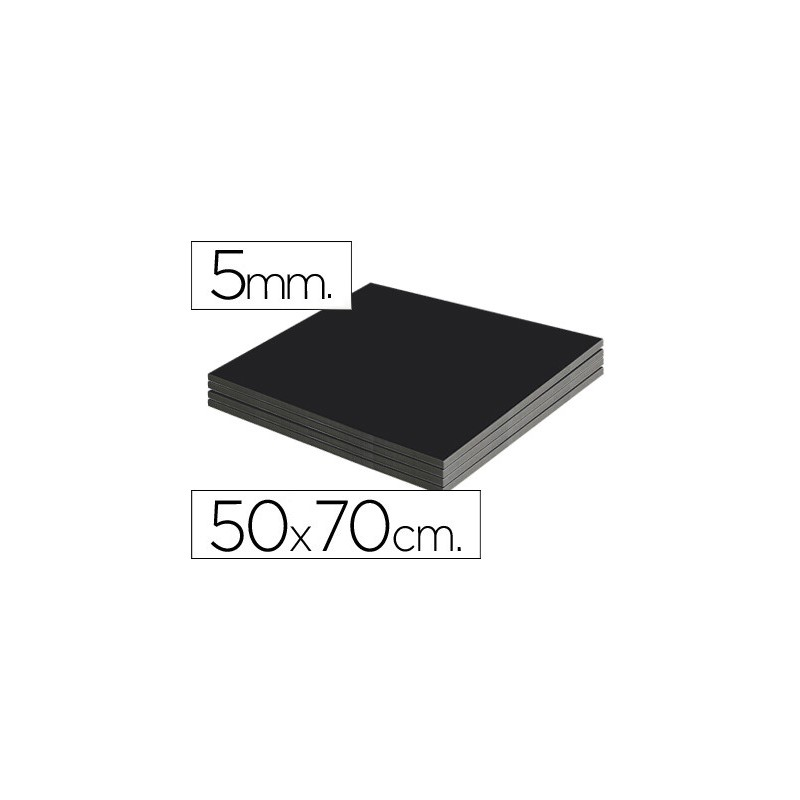 Plancha de cartón pluma negro de 50 x 70 cm con grosor de 5 mm