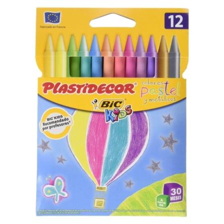 Estuche 12 ceras plastidecor colores pastel 933961