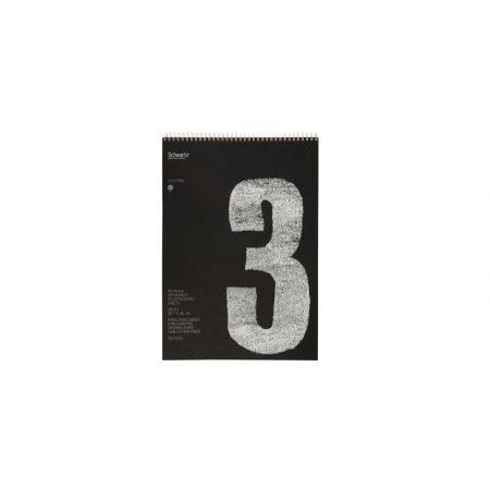 Block negro reciclado de 50 hojas de dibujo sin recuadro A3 con espiral de 120 grs/m² Schwartz