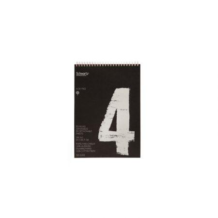 Block negro reciclado de 50 hojas de dibujo sin recuadro A4 con espiral de 120 grs/m² Schwartz