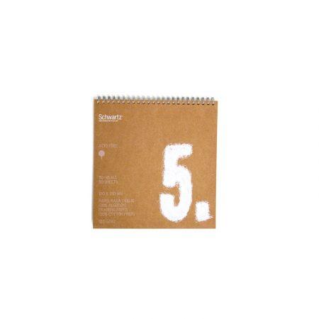 Block kraft reciclado de 50 hojas de dibujo sin recuadro A5.1 con espiral de 120 grs/m² Schwartz