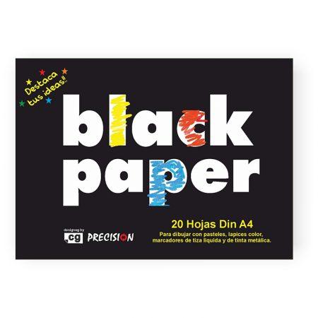 Bloc de 20 hojas papel negro A4 80 grs