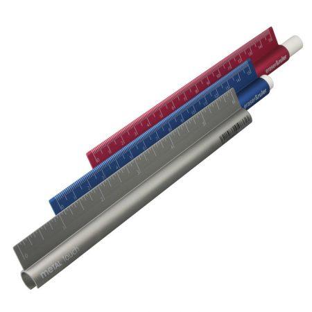Blíster regla metal 15cm eraser ruler milan