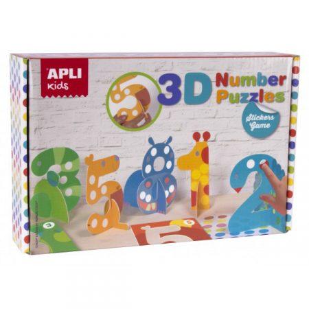 Juego de gomets puzzle números 3D Apli