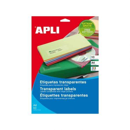 Bolsa de 10 hojas de etiquetas transparentes brillantes Apli 63,5 x 38,1 mm