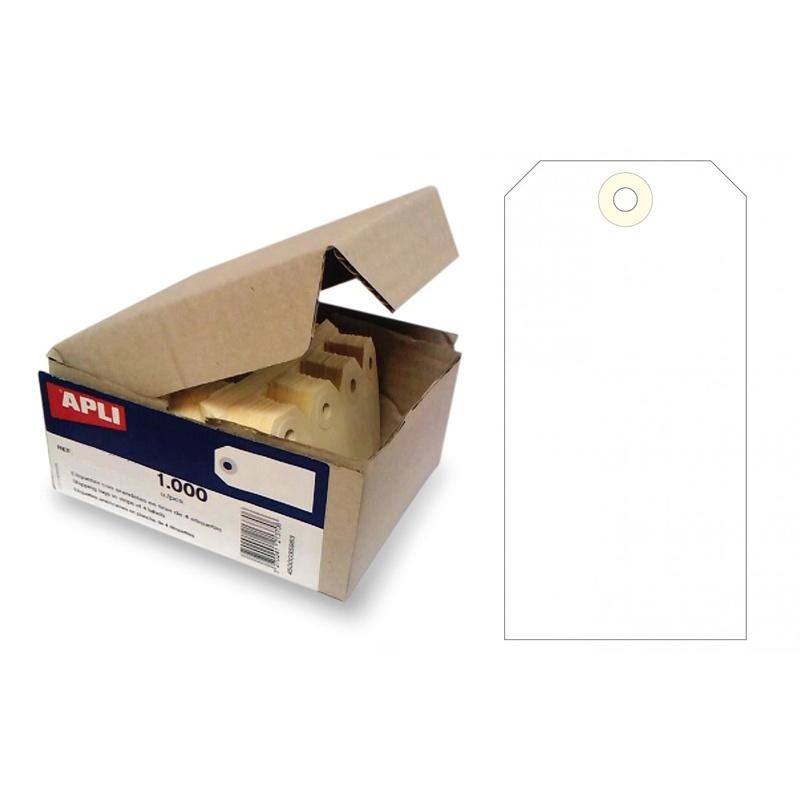 Caja de 1.000 etiquetas colgantes con arandela Apli 120 x 57 mm