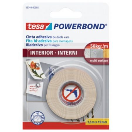 Cinta adhesiva de doble cara Tesa powerband 19 mm x 1,5m interior
