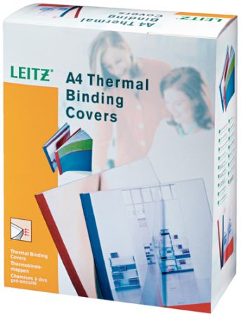 Paquete de 100 tapas para encuadernación térmica de cartón blanco A4 de 240 grs/m² con lomo de 3 mm Leitz