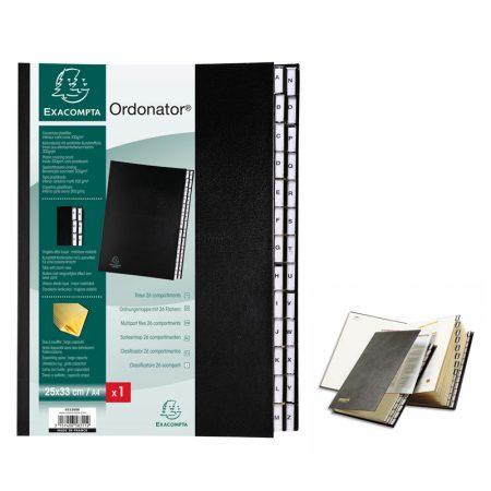 Clasificador alfabético de cartón negro A4 con 26 departamentos Exacompta