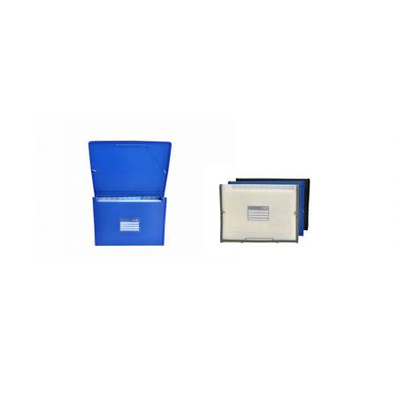 Carpeta de plástico azul A4+ con 12 divisores y gomas Office Box
