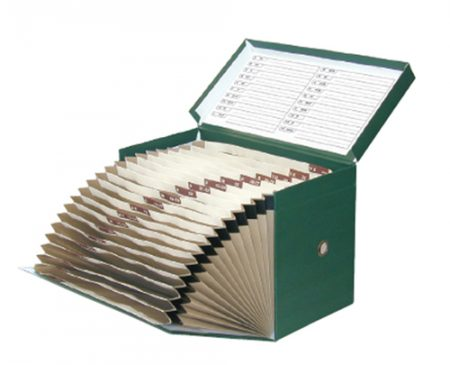 Caja de transferencia de cartón forrado en Geltex verde Fº doble con lomo de 210 mm Elba