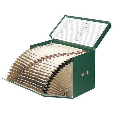 Caja de transferencia acordeón de cartón forrado en Geltex verde Fº con lomo de 200 mm Elba