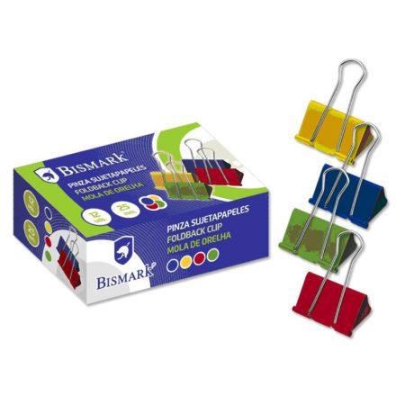 Caja de 12 pinzas metálicas de colores surtidos Bismark 25 mm