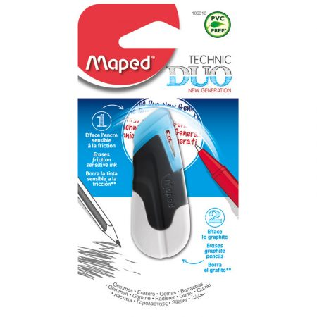Blíster de 1 goma de borrar de doble uso Maped Technic Duo