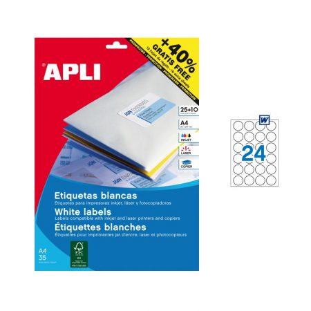 Bolsa de 25 hojas de etiquetas adhesivas blancas circulares Apli ø 30 mm