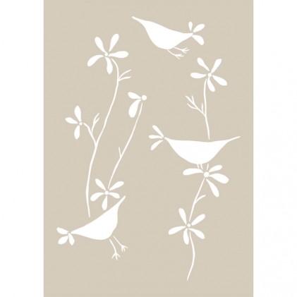 Stencil de Fleur 21 x 29,7 cm Birds Singing
