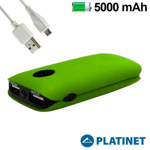 Batería Externa de 5000 MAH con 2 USB Platinet Verde