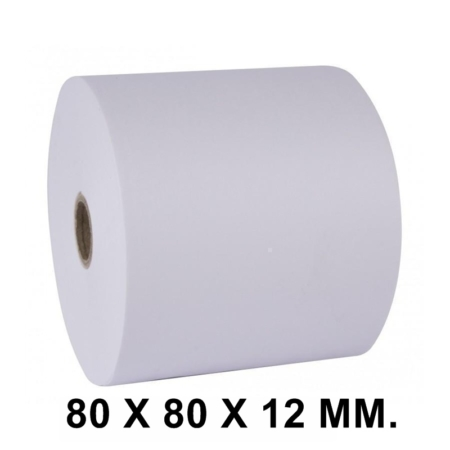 PAQUETE DE 8 ROLLOS DE PAPEL TÉRMICO SIN BPA 80 X 80 X 12 MM.