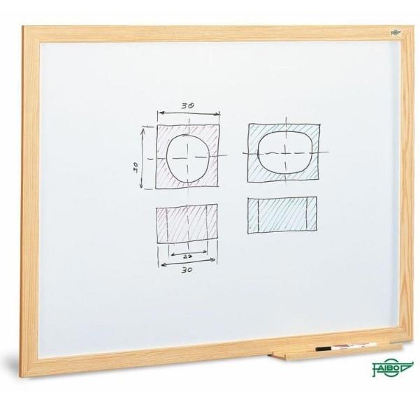Pizarra estratificada blanca con marco de madera de 80x120 cm Faibo