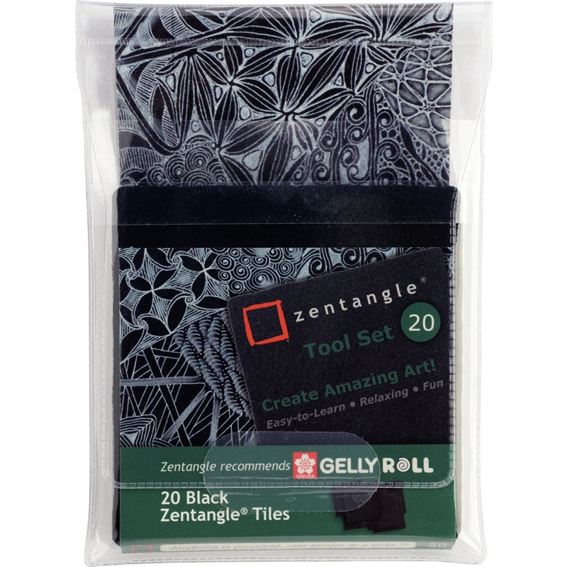 SET 20 PAPELES NEGROS ZENTANGLE SAKURA
