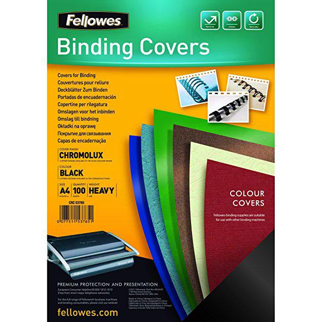 Pack de 100 Portadas A4 de Cartón Alto Brillo Chromolux Negro
