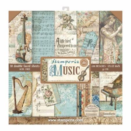PACK 10 PAPEL SCRAP 30.5 x 30.5 CM MUSIC
